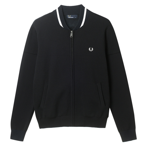 [Authentic]Panelled Knitted Bomber Cardigan(102)