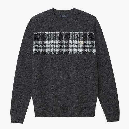 [Authentic] Tartan Panel Crew Neck Sweater(286)
